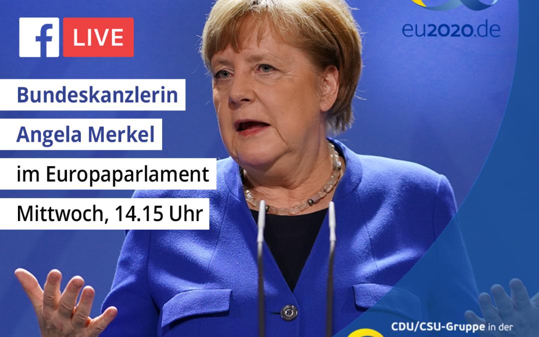 Heute 14.15 Uhr live: Bundeskanzlerin Angela Merkel spricht im Europa-Parlament zum Auftakt der Deutschen Ratspräsidentschaft