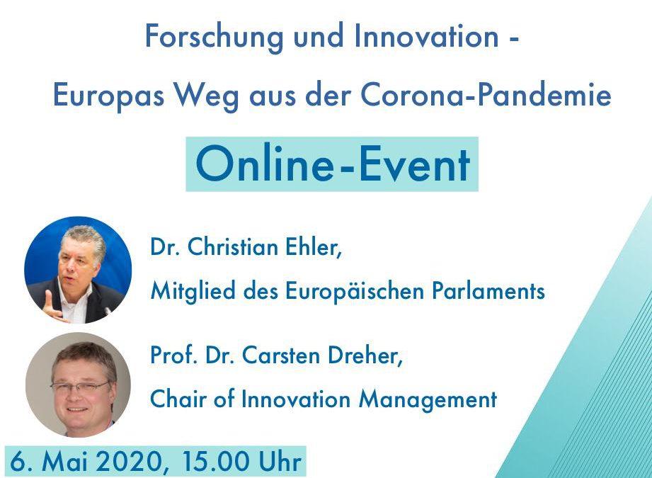 """Einladung zum Online-Event am 6. Mai 2020, 15.00 Uhr: """"Forschung und Innovation: Europas Wege aus der Corona-Pandemie"""""""
