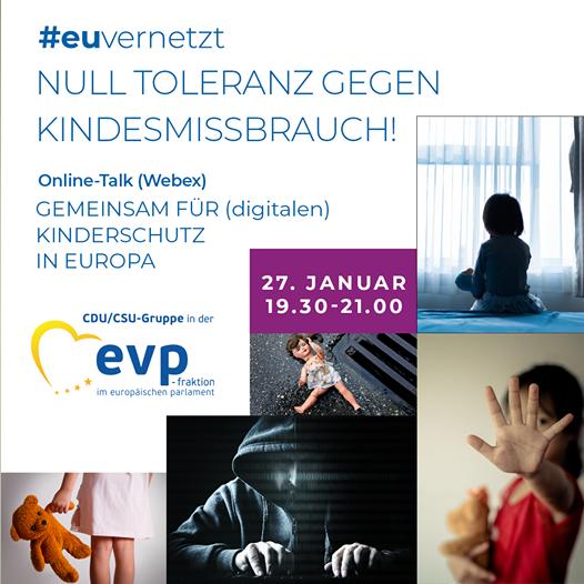 """27. Januar, 19.30 -21.00 Uhr: Online-Talk """"Null Toleranz gegen Kindesmissbrauch! Gemeinsam für (digitalen) Kinderschutz in Europa"""""""
