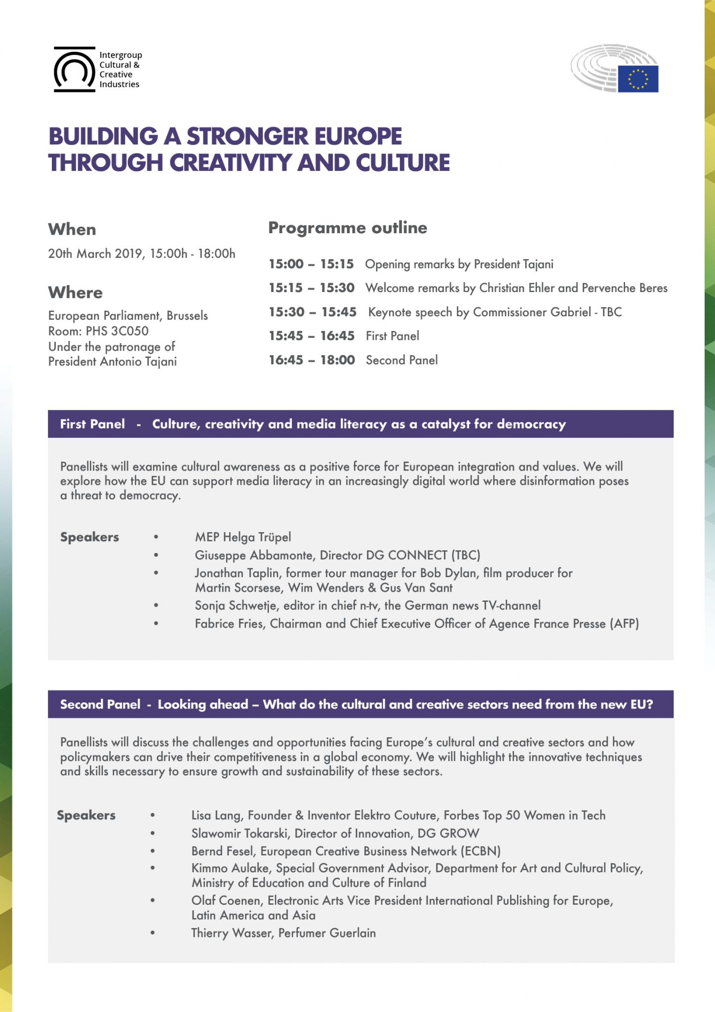Conference: Building a stronger Europe through Creativity and