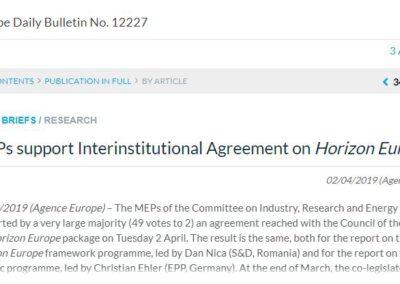 MEPs support Interinstitutional Agreement on Horizon Europe