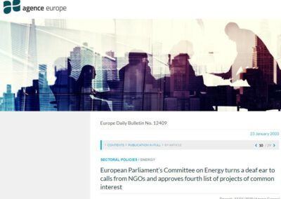 European Parliament's Committee on Energy turns a deaf ear to calls from NGOs and approves fourth list of projects of common interest