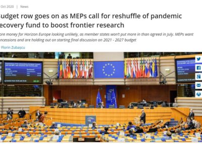 Budget row goes on as MEPs call for reshuffle of pandemic recovery fund to boost frontier research