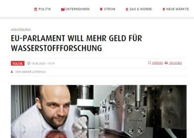 EU-PARLAMENT WILL MEHR GELD FÜR WASSERSTOFFFORSCHUNG