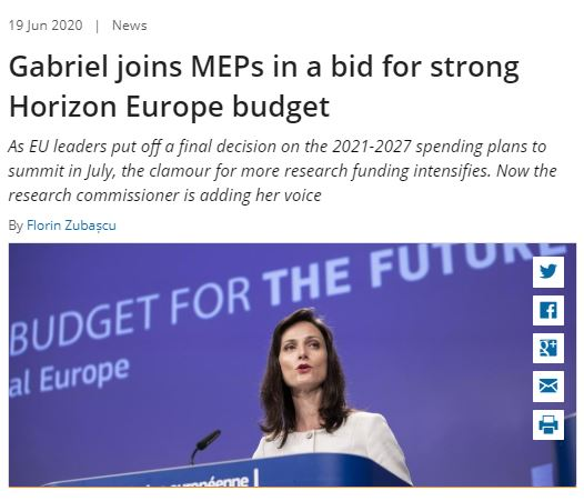 Gabriel joins MEPs in a bid for strong Horizon Europe budget