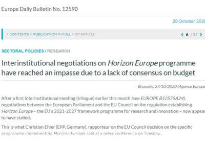 Interinstitutional negotiations on Horizon Europe programme have reached an impasse due to a lack of consensus on budget