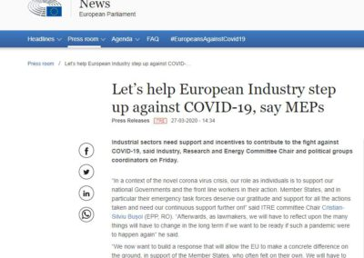Let's help European Industry step up against COVID-19, say MEPs