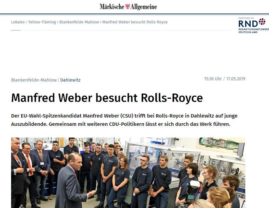 Manfred Weber besucht Rolls-Royce