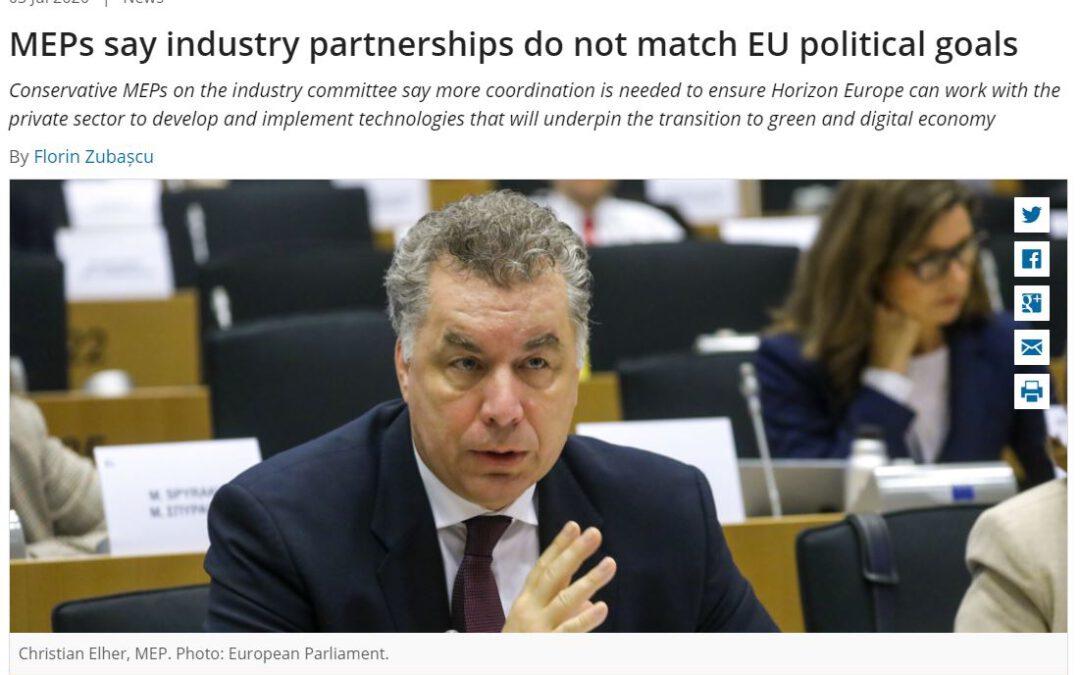 MEPs say industry partnerships do not match EU political goals
