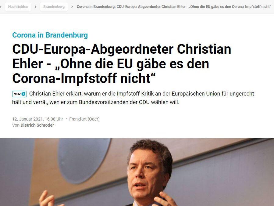 """CDU-Europa-Abgeordneter Christian Ehler – """"Ohne die EU gäbe es den Corona-Impfstoff nicht"""""""