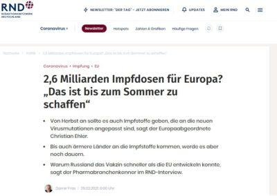"""2,6 Milliarden Impfdosen für Europa? """"Das ist bis zum Sommer zu schaffen"""""""