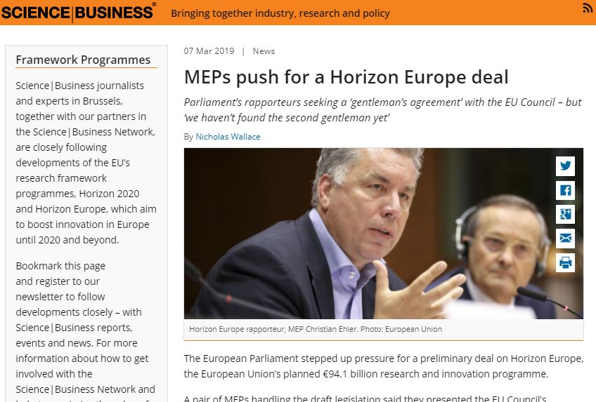 MEPs push for a Horizon Europe deal