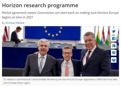 EU Council and Parliament strike a deal on Horizon research programme