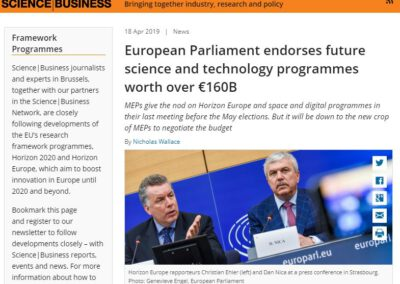 European Parliament endorses future science and technology programmes worth over €160B