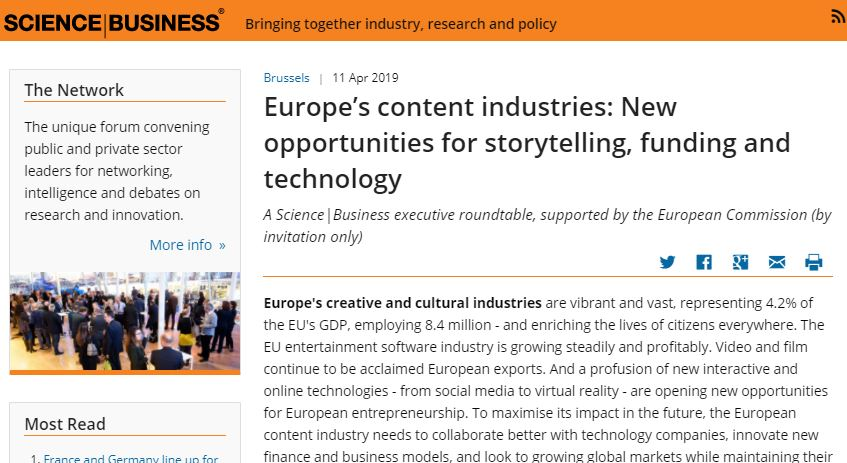 Europe's content industries: New opportunities for storytelling, funding and technology