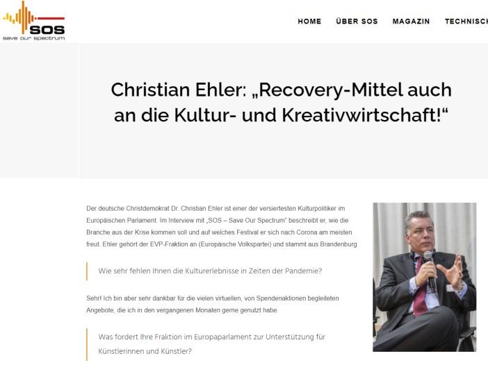 """Christian Ehler: """"Recovery-Mittel auch an die Kultur- und Kreativwirtschaft!"""""""