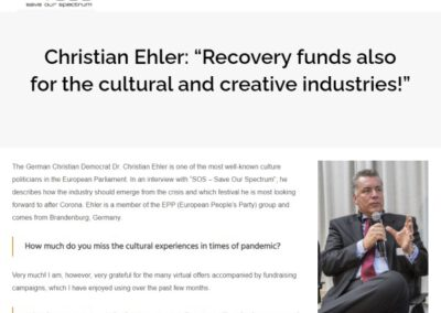 """Christian Ehler: """"Recovery funds also for the cultural and creative industries!"""""""