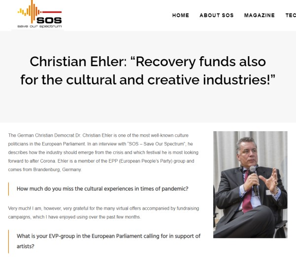"Christian Ehler: ""Recovery funds also for the cultural and creative industries!"""