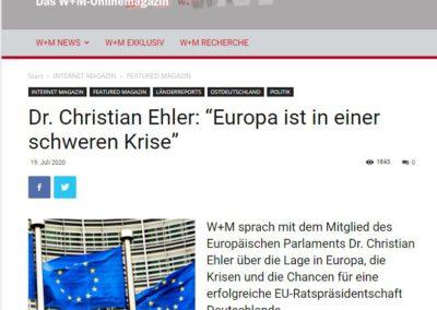 """Dr. Christian Ehler: """"Europa ist in einer schweren Krise"""""""